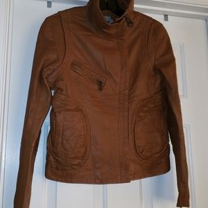 Doma Cognac high neck leather jacket